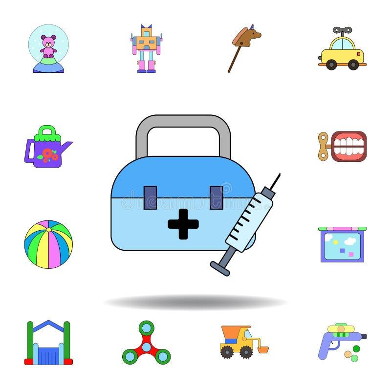 动画片健康紧急援助玩具色的象 设置儿童玩具例证象 标志,标志可以为网,商标使用, 库存例证