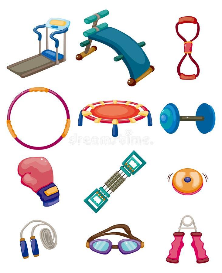 动画片健身设备图标 库存例证