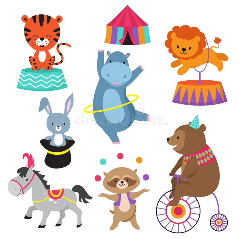 动画片儿童生日贺卡的马戏团动物导航股票 库存例证