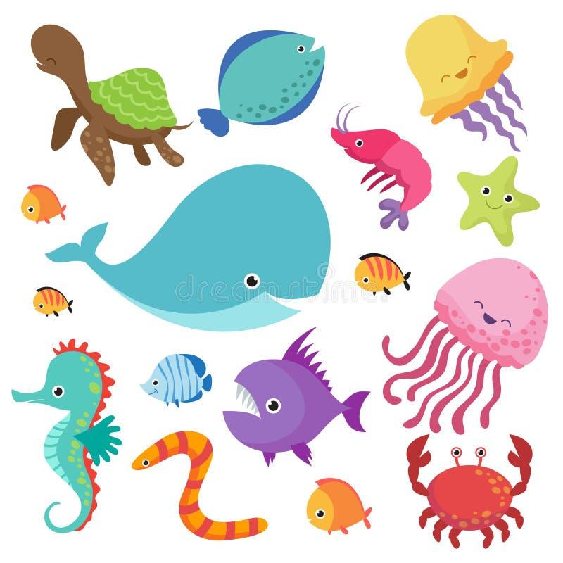 动画片儿童的水族馆和狂放的海水鱼传染媒介集合 库存例证