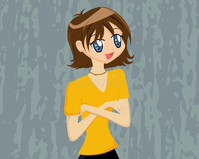 动画片克服的逗人喜爱的女孩 库存例证
