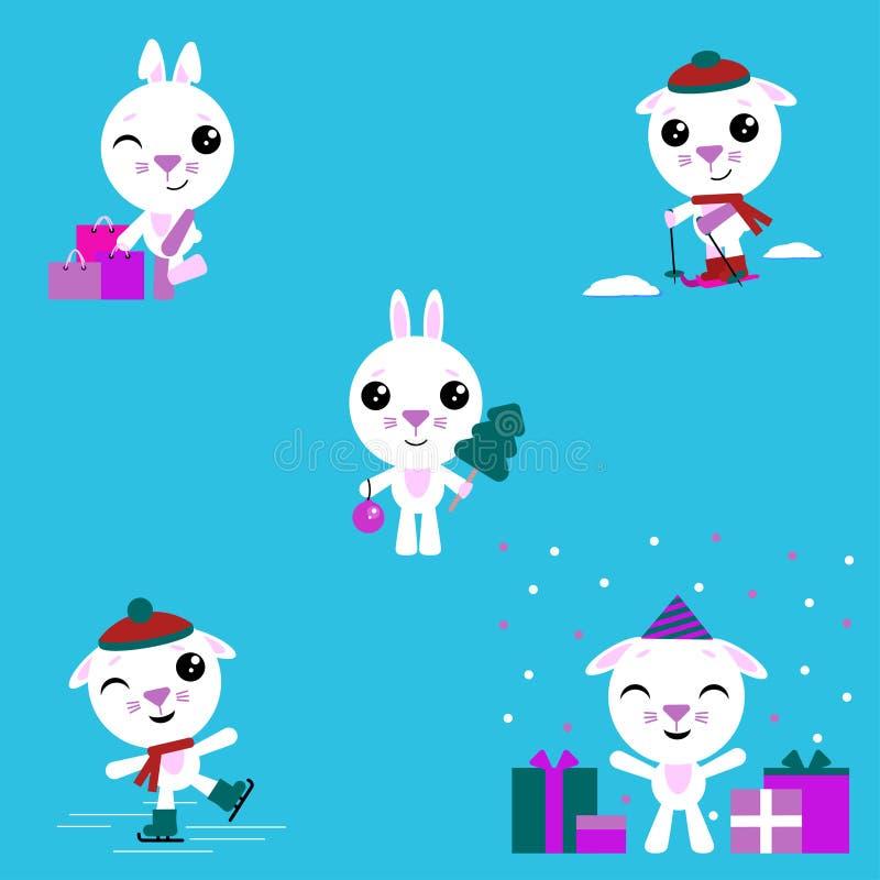 动画片兔子 集合包括滑冰并且滑雪的兔宝宝,做购买,庆祝一个生日,庆祝新年 向量例证