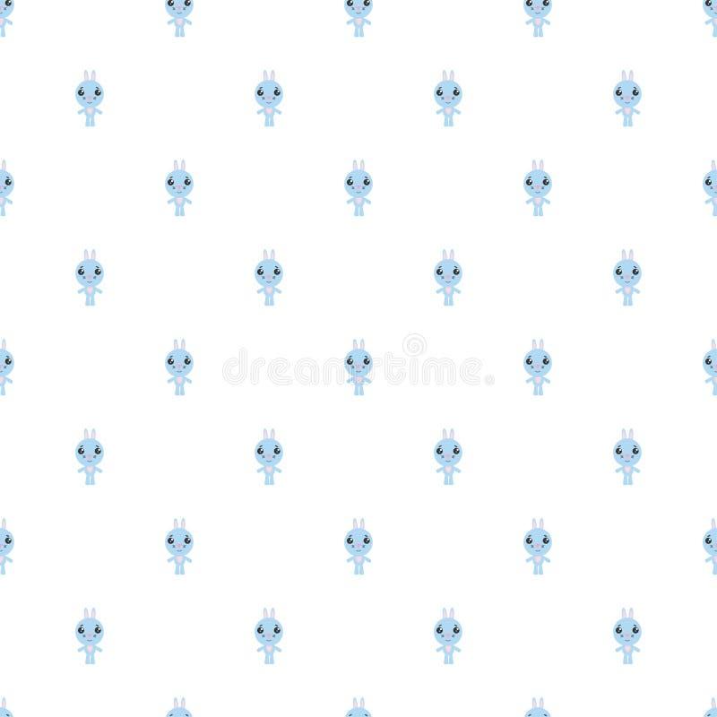 动画片兔宝宝的无缝的样式在白色背景的 库存例证