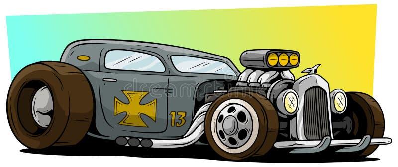 动画片减速火箭的葡萄酒灰色旧车改装的高速马力汽车赛车 库存例证