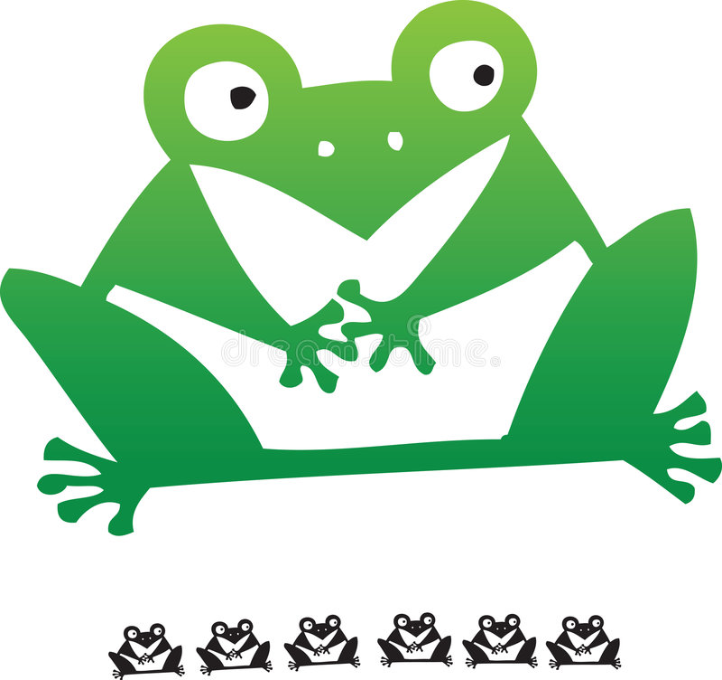 动画片凹道青蛙现有量 库存例证