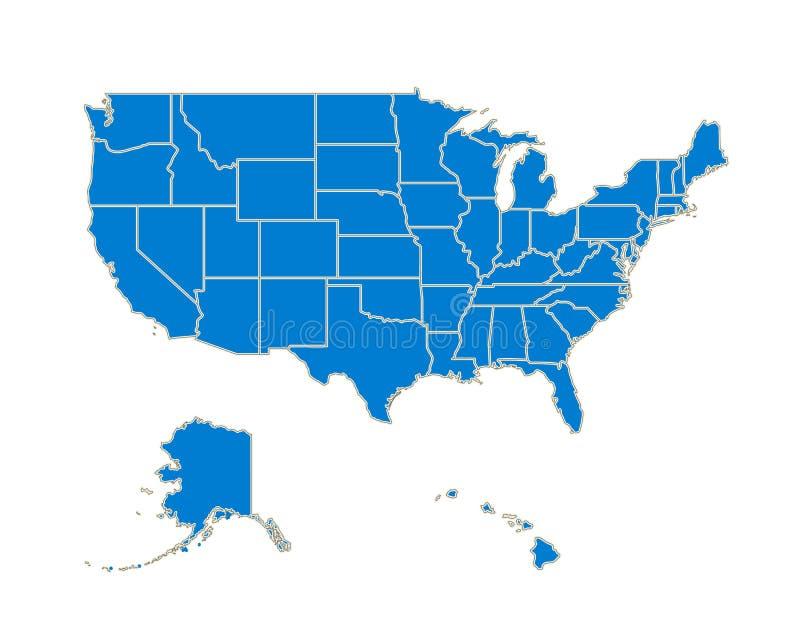 动画片剪影美国地图卡片海报 向量 库存例证