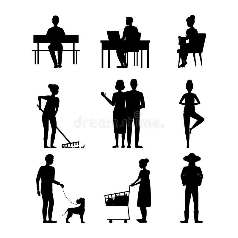 动画片剪影黑色字符现代年迈的人集合 ?? 库存例证