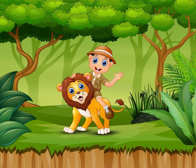 动画片动物园管理员男孩和一头狮子在密林 皇族释放例证
