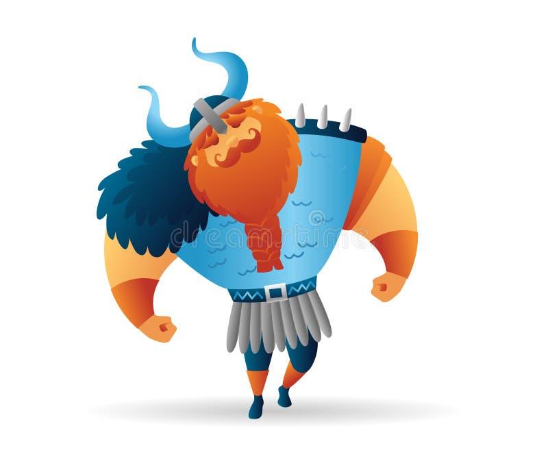 动画片北欧海盗坚强男人字符 滑稽的动画片 r 皇族释放例证