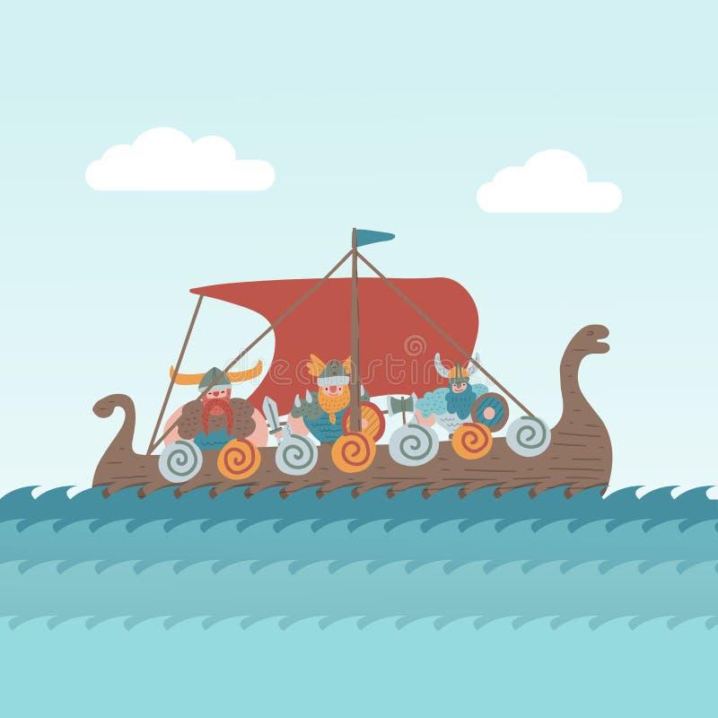 动画片北欧海盗船航行 在船的Cikings在海 航行军用齿轮的男性角色海 平的动画片手 皇族释放例证