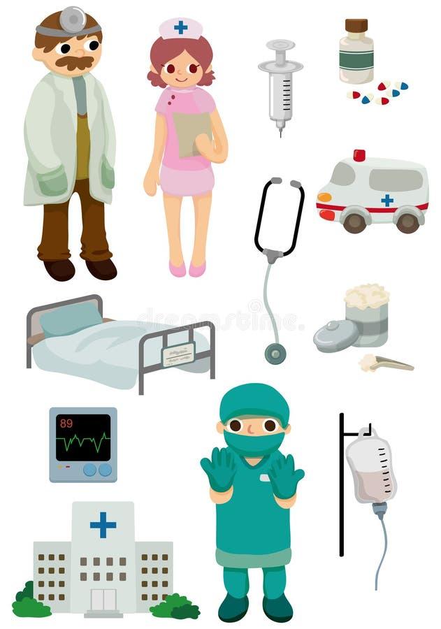 动画片医院图标 向量例证