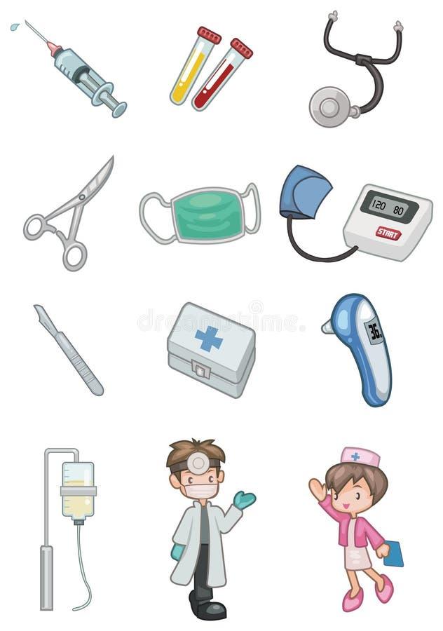动画片医院图标 库存例证