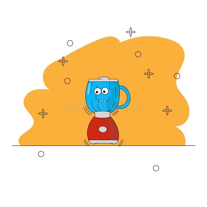 动画片厨房器具 t 十字架,杯子,蒸汽 有眼睛的运转的红色微笑的搅拌器 库存例证