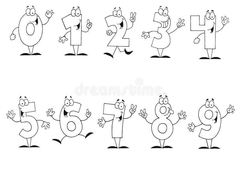 动画片友好编号概述的集 向量例证