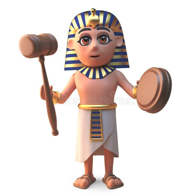 动画片古老埃及法老王Tutankhamun举行一次拍卖,3d例证 库存例证