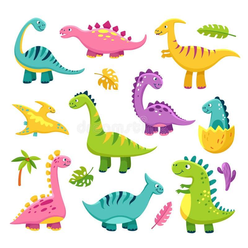 动画片恐龙 动画片可爱宝贝迪诺三角恐龙史前野生动物雷龙隔绝了恐龙传染媒介 向量例证