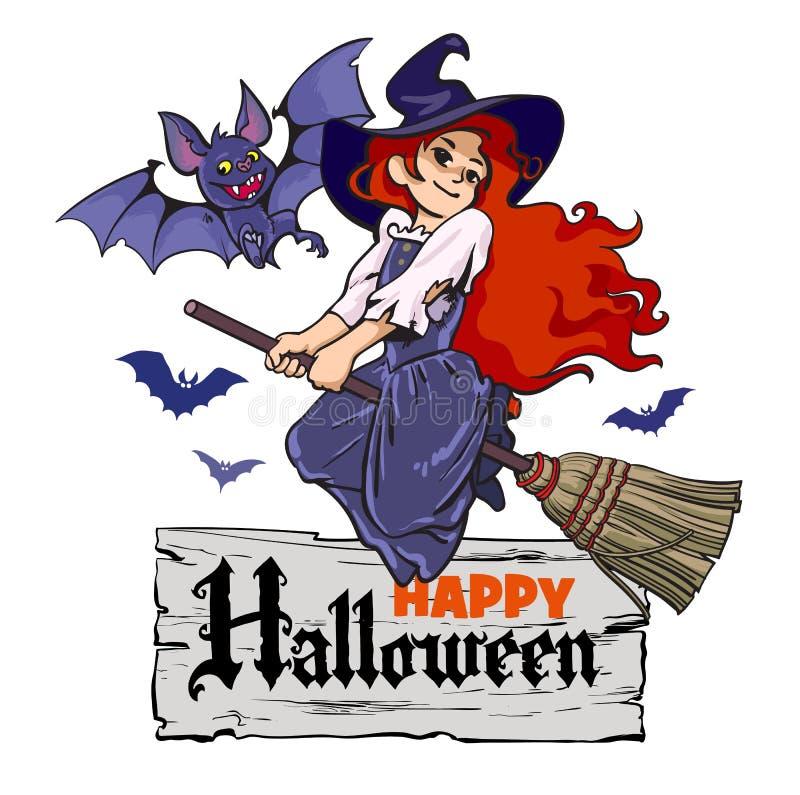 动画片吸血蝙蝠和逗人喜爱的年轻巫婆飞行在帚柄 库存例证