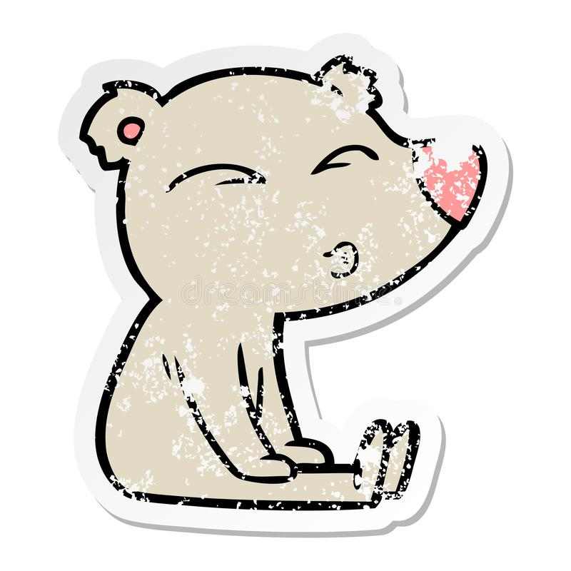 动画片吹哨的熊坐的困厄的贴纸 向量例证