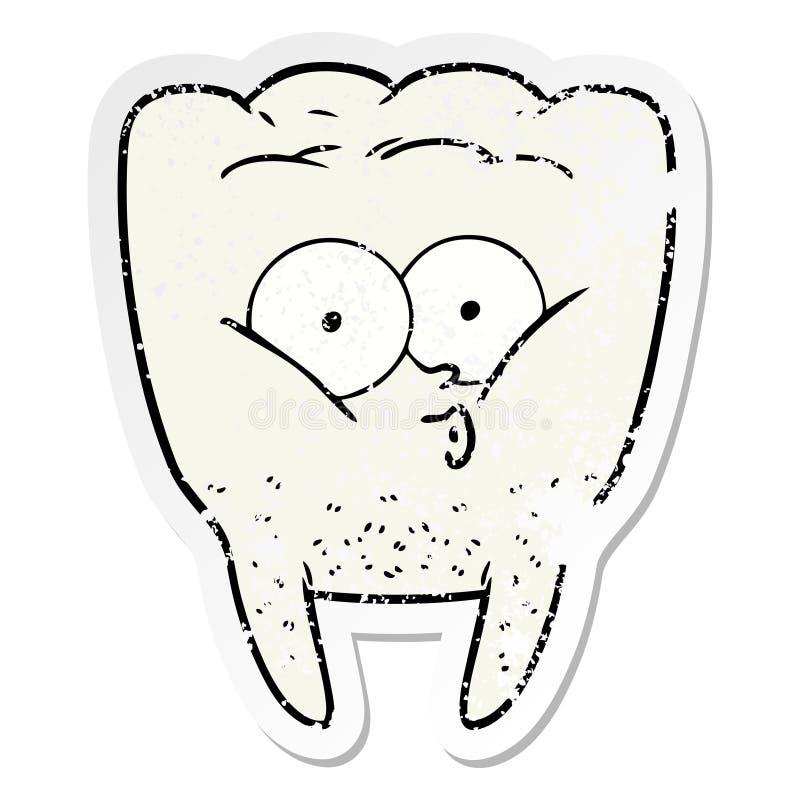 动画片吹哨的牙的困厄的贴纸 向量例证