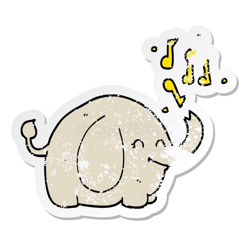 动画片吹小号大象的困厄的贴纸 向量例证