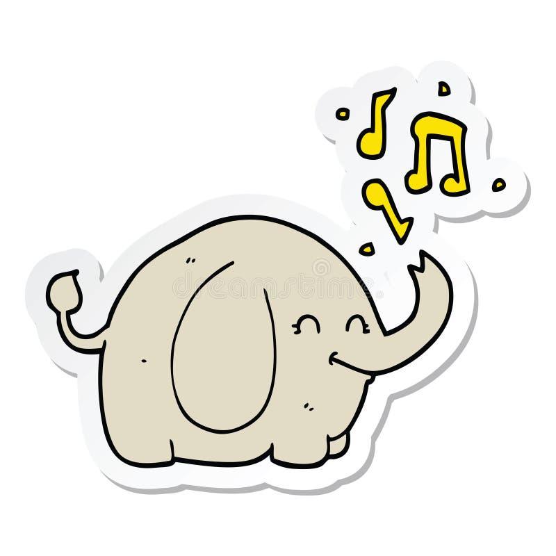 动画片吹小号大象的贴纸 库存例证