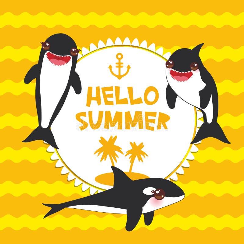 动画片呼吸粗沉的急性子集合 你好夏天、海怪、虎鲸,海狼Kawaii与桃红色面颊和正面微笑在橙黄波浪 库存例证