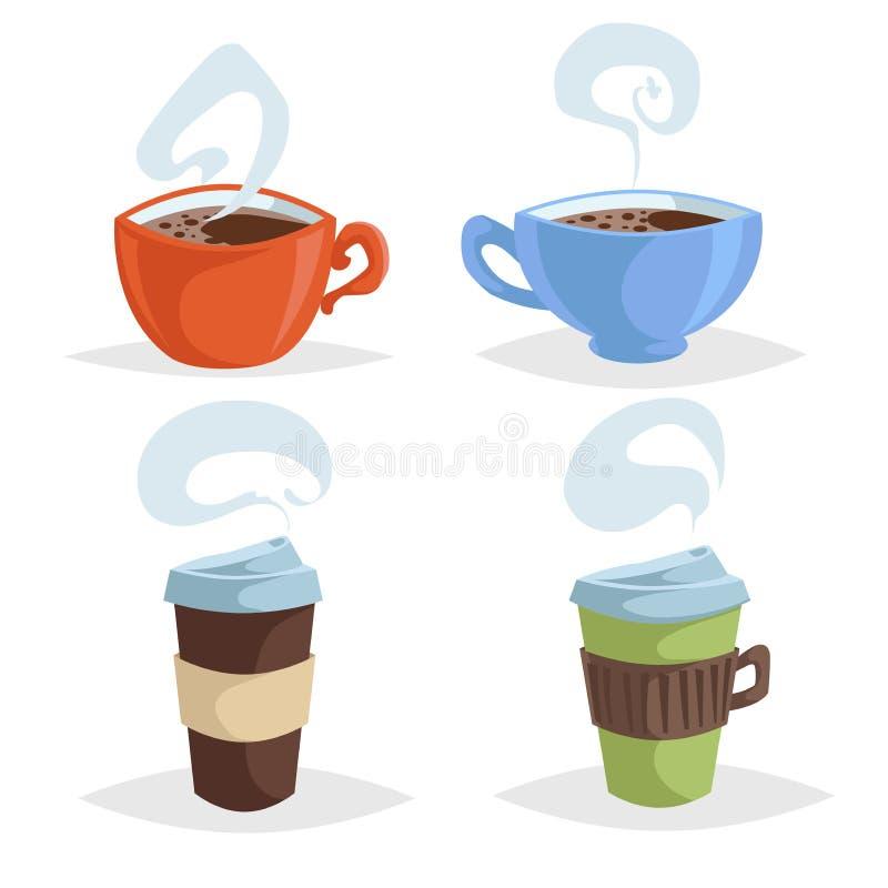 动画片咖啡杯或杯子集合 时髦设计五颜六色的咖啡象的汇集 浓咖啡和拿走杯子 向量例证