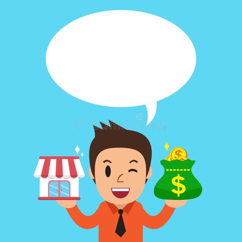 动画片商人运载的特权企业商店和金钱请求与白色讲话泡影 向量例证