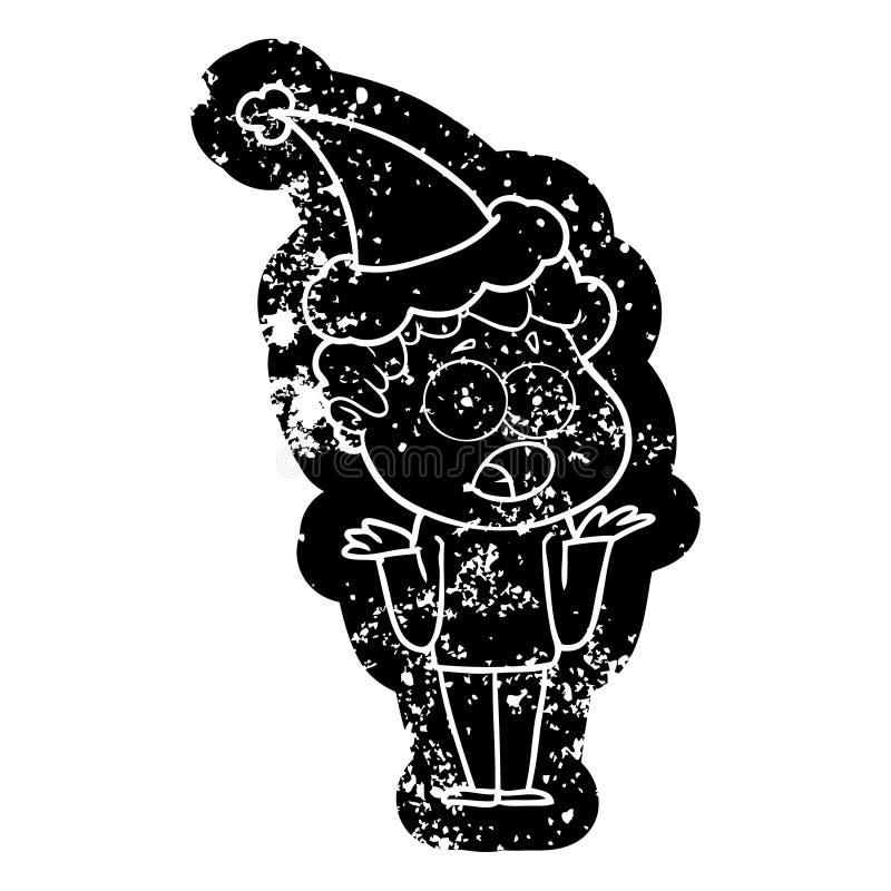 动画片喘气在惊奇的一个人的困厄的象戴圣诞老人帽子 向量例证