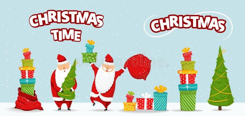 动画片圣诞老人集合 与圣诞树,堆礼物,与礼物的袋子的滑稽的愉快的圣诞老人字符,高兴,挥动 皇族释放例证