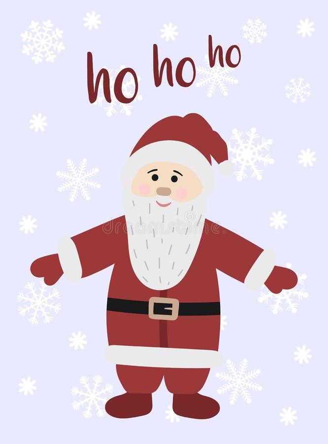 动画片圣诞老人项目的传染媒介图象 反对雪花背景的手拉的贺卡  冬天圣诞节和新的肯定 库存例证