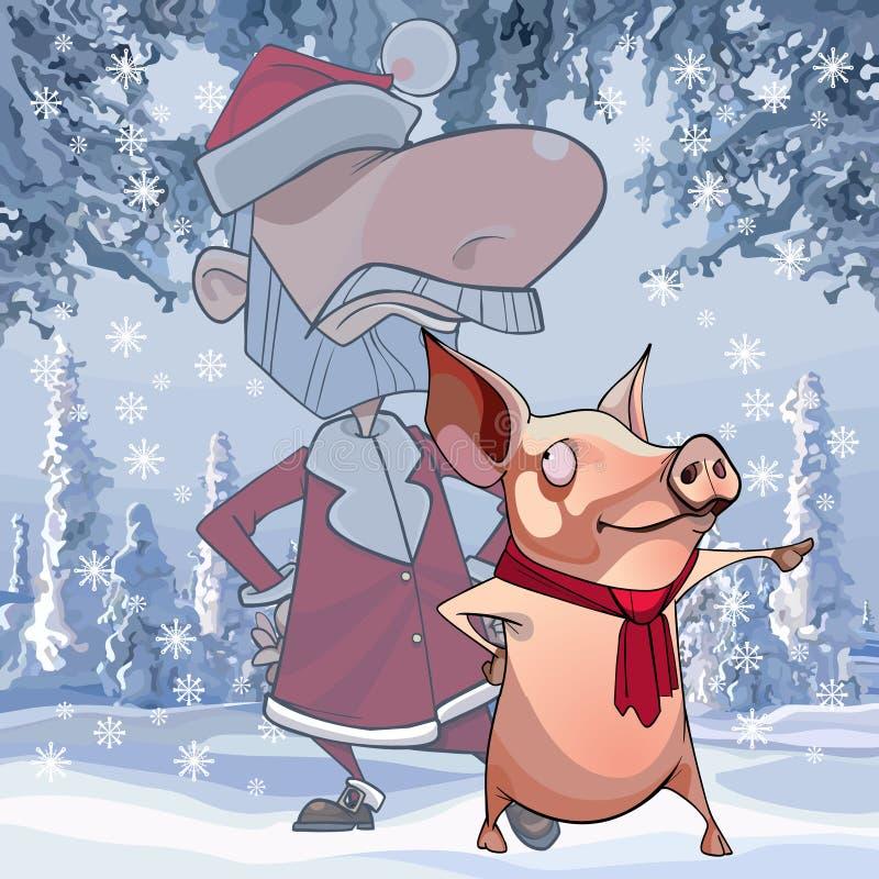动画片圣诞老人项目站立与对边的点的猪 库存例证