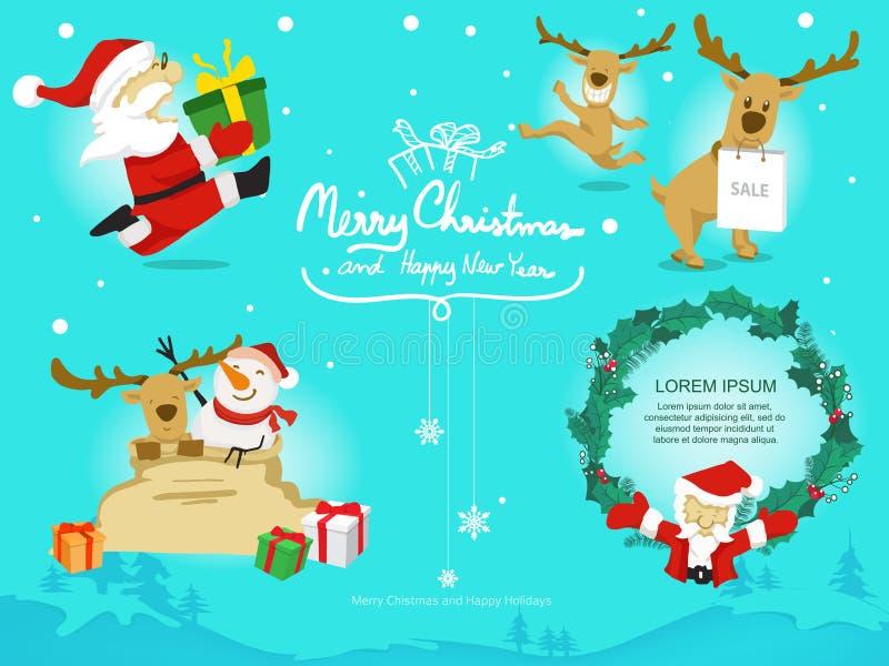 动画片圣诞老人项目驯鹿雪人和叶子在线背景,传染媒介和乱画样式 向量例证
