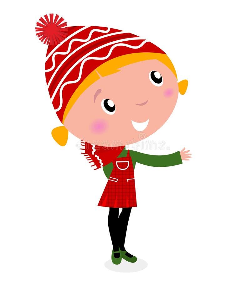 动画片圣诞节服装逗人喜爱的女孩红&# 库存例证