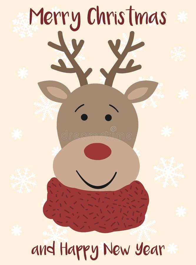 动画片圣诞节鹿的传染媒介图象 反对雪花背景的手拉的贺卡  冬天圣诞节和新的Ye 皇族释放例证