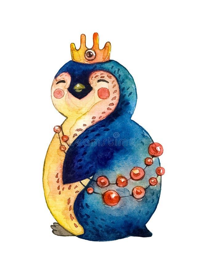 动画片在一个金黄冠和红色小珠的女孩企鹅 奶油被装载的饼干 皇族释放例证