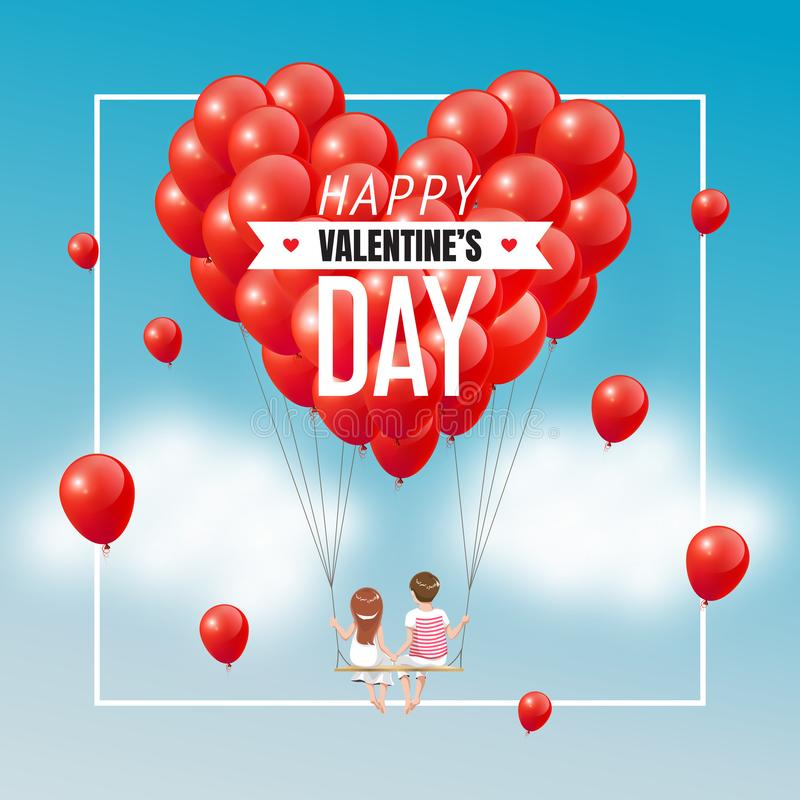 动画片在摇摆的恋人夫妇与小组红色心脏在蓝天和文本,愉快的Valentine's天,传染媒介例证迅速增加 向量例证