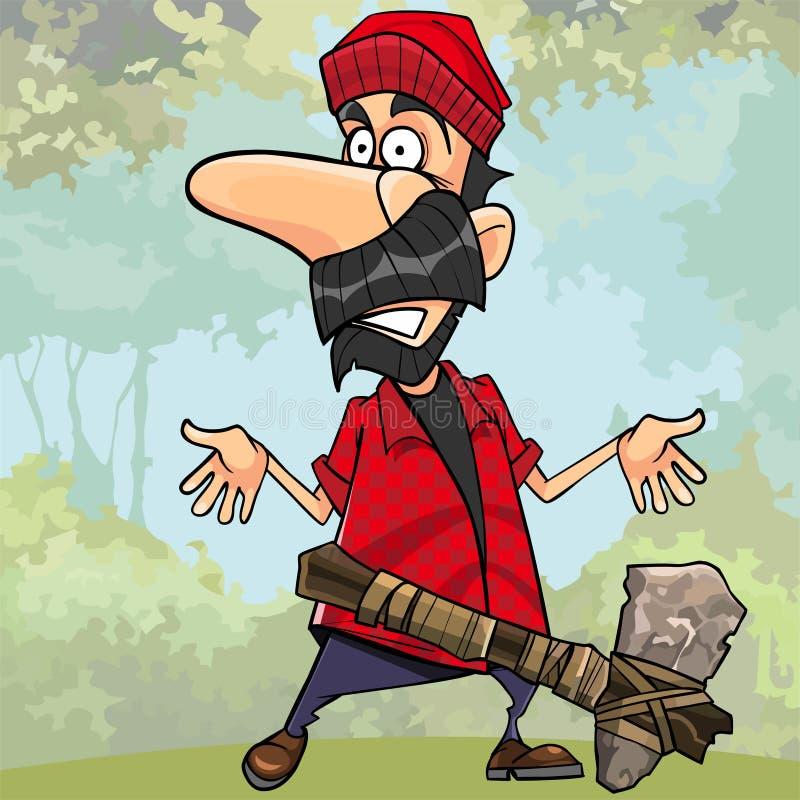 动画片在森林里冲击了有一个石轴的伐木工人 库存例证