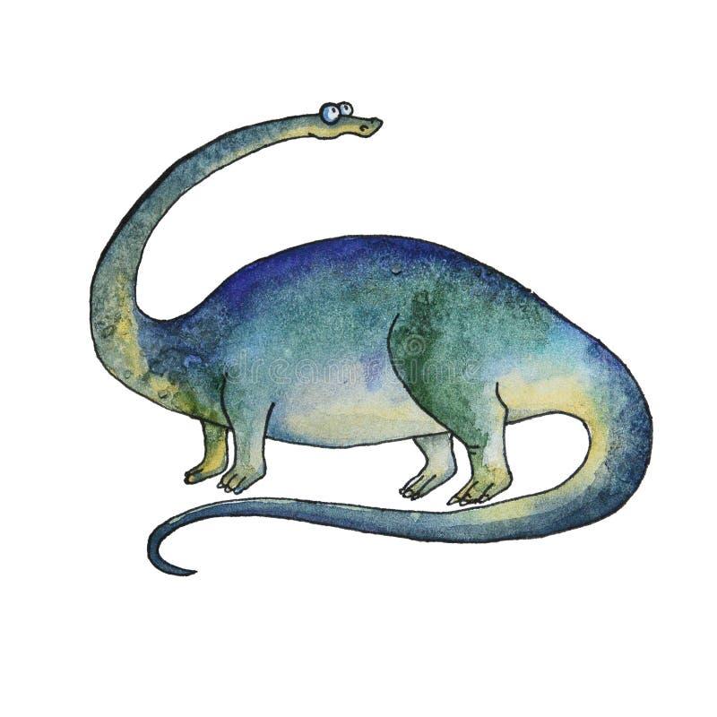 动画片在水彩样式的恐龙梁龙 向量例证
