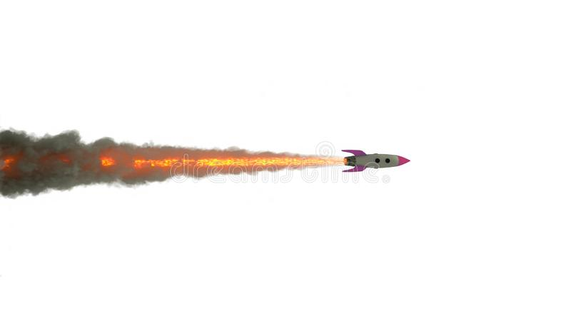 动画片在白色背景的火箭队发射 3d?? 向量例证