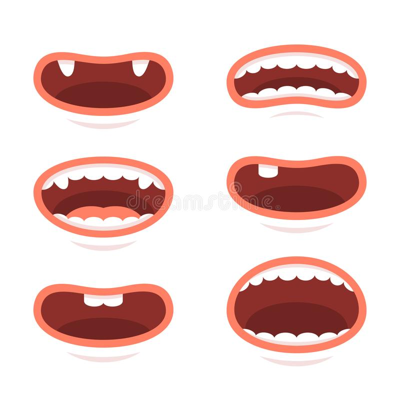 动画片在白色背景设置的样式嘴 向量 皇族释放例证