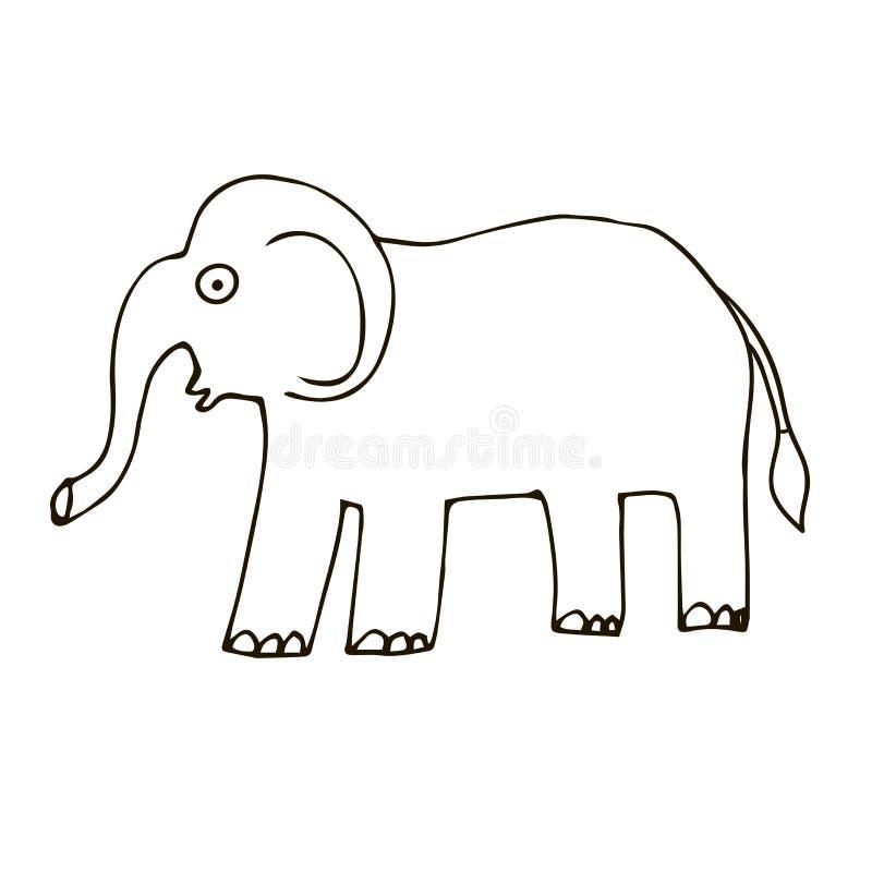 动画片在白色背景隔绝的乱画大象 纯稚样式 库存例证