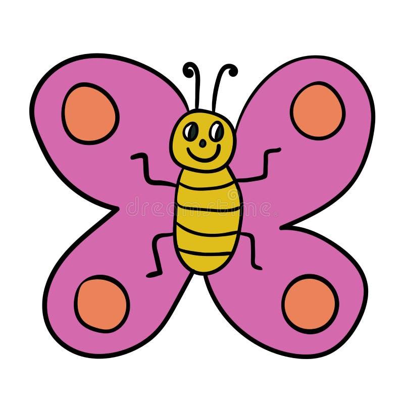 动画片在白色背景隔绝的乱画蝴蝶 纯稚样式 库存例证