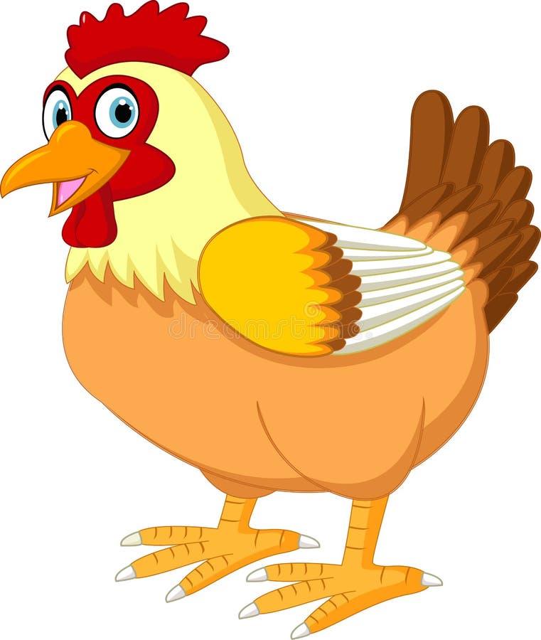 动画片在白色背景隔绝的母鸡摆在 向量例证