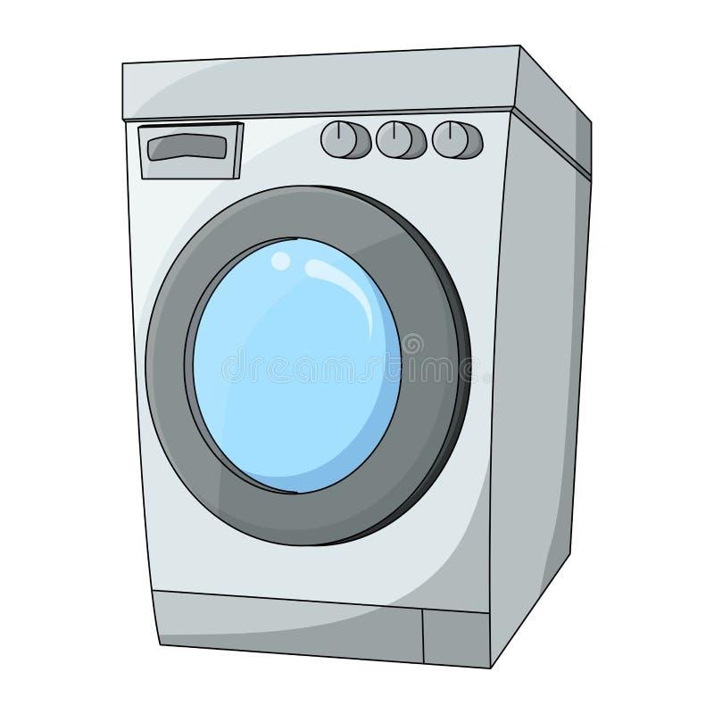 动画片在白色背景隔绝的洗衣机设计 库存例证