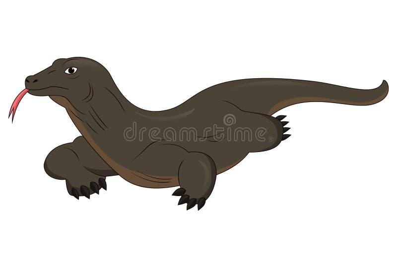 动画片在白色背景隔绝的科莫多巨蜥 皇族释放例证
