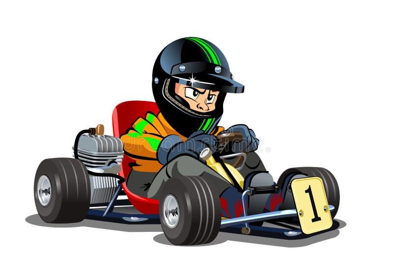 动画片在白色背景隔绝的kart竟赛者 库存例证