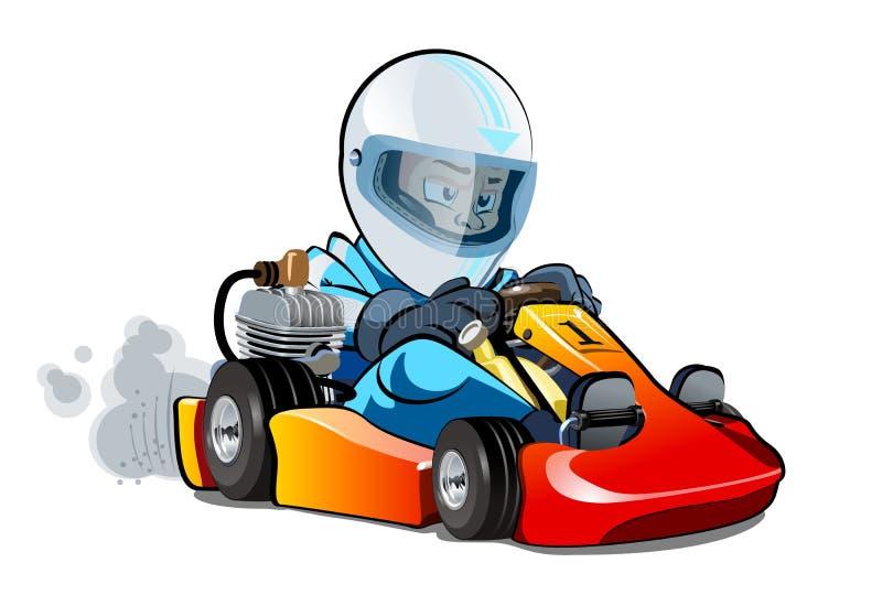 动画片在白色背景隔绝的kart竟赛者 向量例证