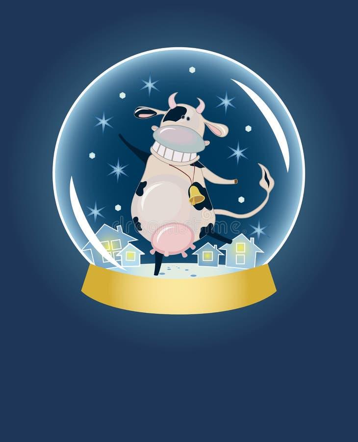 动画片在雪范围里面的母牛圆顶 向量例证