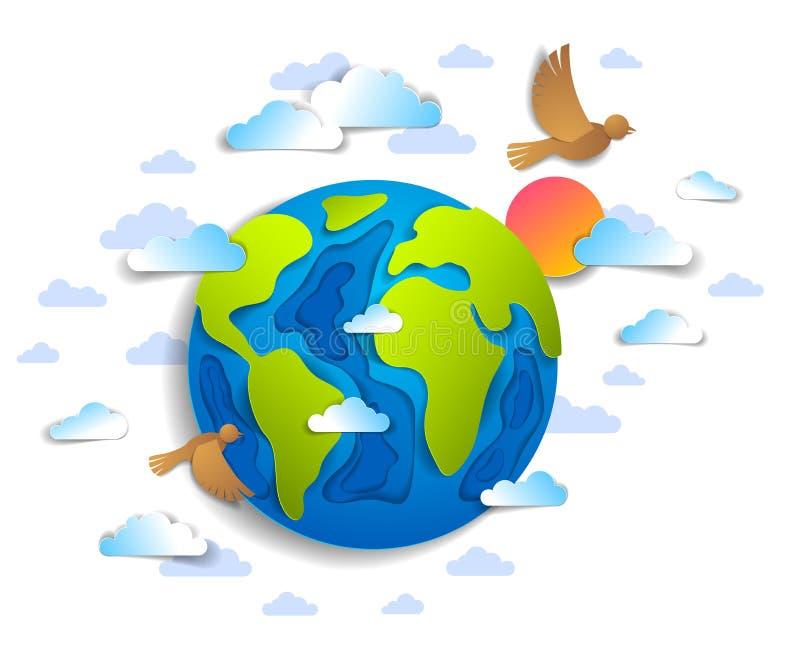 动画片地球覆盖飞行的鸟和太阳传染媒介现代样式pa 向量例证